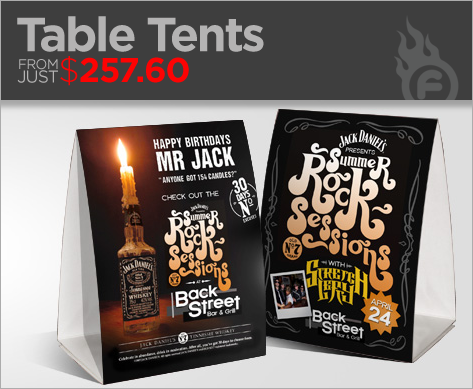 Table Tents - Bar table tents